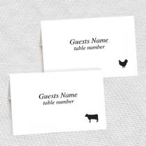 wedding photo - beef chicken fish pork and vegetarian meal choice place cards - printable editable file - DIY escort cards print at home wedding reception
