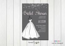 wedding photo - Wedding Shower Invitation, Bridal Shower Invite, Wedding Dress, Modern Bridal Shower Invitation, Grey and Pink Bride