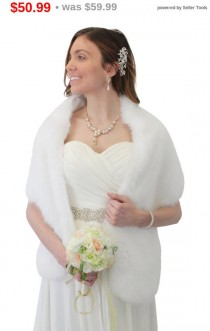 wedding photo - Pure White Faux Fur Stole, Bridal wrap, faux fur bridal shawl, faux fur shrug,  -WHI