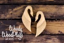 wedding photo - wood earrings- wood ear weights -swan earings - wing earrings - wing ear weights - swan ear Piercing earringweights- wooded wing earrings
