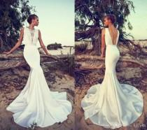 wedding photo -  Sexy Spring 2016 Liz Martinez Wedding Dresses Boho Lace Bateau Neck Backless Mermaid Satin Court Train Beach White Bridal Gowns Party Lace Luxury Illusion Online with 148.58/Piece on Hjklp88's Store