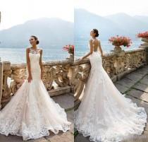 wedding photo -  Milla Nova AMALIA 2017 Vintage Mermaid Full Lace Wedding Dresses Applique Crew Neck Illusion Backless Beach Wedding Dress Bridal Gowns Lace Luxury Illusion Online with 195.43/Piece on Hjklp88's Store