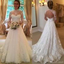 wedding photo -  2016 Vintage Full Lace Wedding Dresses Long Sleeve Backless Country Sheer Bridal Gowns High Neck Cheap Sexy Formal A-Line Boho Wedding Dress Lace Luxury Illusion Online with 177.15/Piece on Hjklp88's Store
