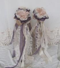 wedding photo - Flower Girl Wands/ Flower girl Bouquets, Whimsical wands, Flower girl accessory, Dusty plum wedding, Single flower bouquet, Vintage Wedding,