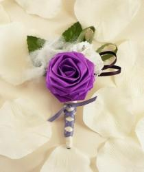wedding photo - Purpilicious, Origami Boutonniere - Purple Boutonniere, Grooms Boutonniere, Groomsmen Boutonniere, Lace Boutonniere, Wedding Boutonniere