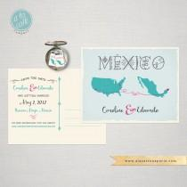 wedding photo - Destination Wedding Save the Date Card USA Mexico Wedding card with maps and airplanes lines decorative Mexican blue coral pink fuchsia
