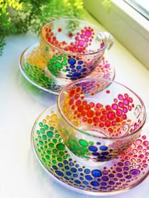 wedding photo - 2 Tea Cups and Saucers Set of Multicolored bubbles Tea set shimmer in the sun Hand Painted Rainbow Multi Colored Glass tea cup set