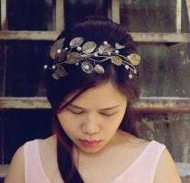 wedding photo - pink silver branch headband,cherry blossom headband, made by polymner clay sweet girl