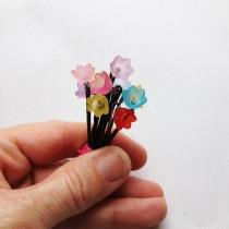 wedding photo - Dainty Flower Girl Hair Pins - Set of 10 - Red, Orange, Yellow, Green, Blue, Aqua, Violet, Purple, Pink, Rose