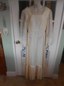 "wedding photo - 004-Sweet and Simple Vintage 1950's Wedding dress- Edwardian/Victorian Feeling-heavy sateen fabric ""Candi Jones-California"" Size 13"