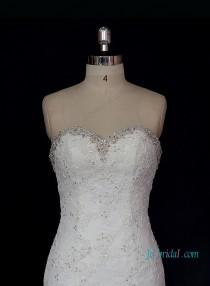 wedding photo - h1315 Stunning beaded sweetheart neckline lace mermaid dress