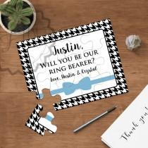 wedding photo - Will You Be Our Ring Bearer, Will You Be My Jr. Groomsmen, Bow Tie Puzzle Ivitation, Personalized Ring Bearer Proposal, Ask Ring Bearer, NEW