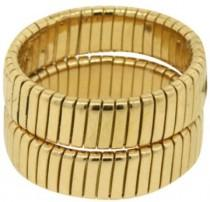 wedding photo - Bulgari 18K Yellow Gold Classic Cable Lined Weave Braided Wedding Band Ring Size Small