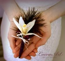 wedding photo - Orchid Wedding Boutonniere  Orchid Wedding Boutonnieres Rustic Boutonniere Grooms Boutonniere