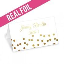 wedding photo - Foil Confetti Place Cards - Gold Foil, Rose Gold, Silver Foil - Wedding Escort Cards - Wedding Place Cards - Party Place Cards - more colors