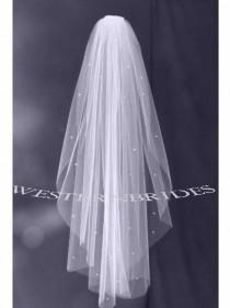 wedding photo - White, Ivory, diamond white  RHINESTONE CRYSTALS  1 tier Elegant Wedding Bridal veil. Choice of, ELBOW, fingertip, waltz, chapel, Cathedral