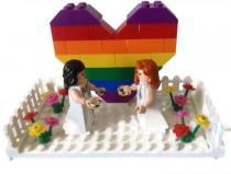 wedding photo - Gay Lesbian Wedding Cake Topper Lego Couple Minifigures Rainbow Heart White Picket Fences Wedding Gift Favor