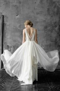 wedding photo - Amalthea // Simple silk and lace wedding dress with V-neck and button detail