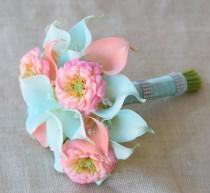 wedding photo - Silk Flower Wedding Bouquet - Aqua Mint and Coral Peach Calla Lilies Zinnias Natural Touch Crystals Silk Bridal Bouquet Robbin's Egg