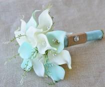 wedding photo - Silk Flower Wedding Bouquet - Mint Aqua Robbin's Egg or Aruba Blue Calla Lilies Natural Touch with Crystals and Greens Silk Bridal Bouquet
