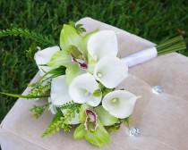 wedding photo - Silk Wedding Off White Natural Touch White Calla Lilies and Green Orchids Flowers Bridal Bouquet