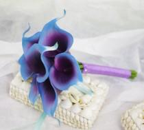 wedding photo - Silk Flower Wedding Bouquet - Purple Blue Calla Lilies Natural Touch Silk Bridal Bouquet