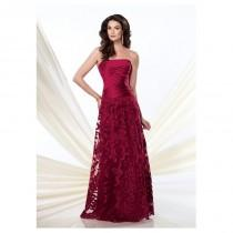 wedding photo - Elegant Lace & Satin A-line Strapless Neckline Full-length Mother of the Bride Dress - overpinks.com