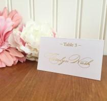 wedding photo - Simple Wedding Gold Foil Place Cards - Real foil - Choose any color - Place Card, Escort Card, Name Card. Wedding Table Assignments