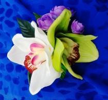 wedding photo - TROPICAL HAIR FLOWERS - Flower clip, Hawaiian Orchids, Beach Wedding, Hair Accessory, Bridal, Headpiece, Hairpiece, Realistic, Fascinator