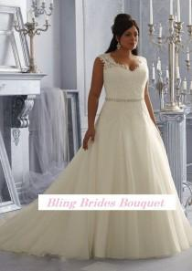 wedding photo - Bling Brides Fancy Sexy See Through Beading Lace Organza White Ivory A-Line Plus Size Wedding Dress