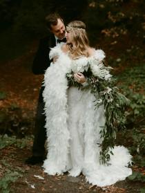 wedding photo - A Fairytale Forest Wedding with a Feather Cape