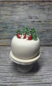 wedding photo - Dollhouse miniature Christmas cake - 1:12 Scale Dollhouse Miniature Food - Dollhouse Christmas angel white cake