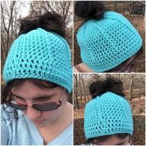 wedding photo - Messy bun hat, crochet ponytail cap, adult women hat, boho hat, winter beanie