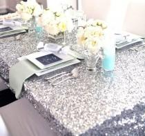 wedding photo - Sequin Silver Tablecloth and Overlay Various Sizes
