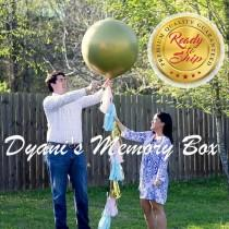 "wedding photo - GOLD Baby Gender Reveal Balloon / 36"" Confetti Filled Balloon / Light Pink, Light Blue and Gold Tassel Tail Balloon"