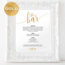 wedding photo -  Gold Bar menu wedding - Bar menu sign - Drinks Sign - Bar menu printable - Gold wedding printable - Downloadable wedding signs