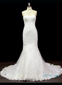 wedding photo - Sexy sweetheart neck lace detailed mermaid wedding dress