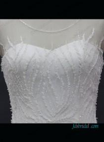 wedding photo - Sexy sheer top beading mermaid wedding dress