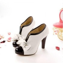 wedding photo - Sexy Lady Beige Bow Pump Platform Women High Heel Shoes