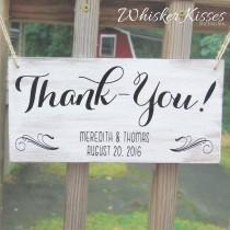 wedding photo - Wooden Wedding Thank you Sign,  Save the Date Sign, Ring Bearer, Flower Girl Sign, Gift Idea for Bride, Rustic Wedding, Photo Prop