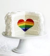 wedding photo - Rainbow Heart Cake