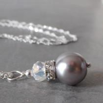 wedding photo - Gray Pearl Bridesmaid Jewelry, Simple Beaded Pendant, Wedding Party Necklaces, Grey Bridal Jewellery in Silver, Avalon