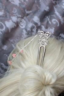 wedding photo - hair fork pink hair jewelry rustic wedding pink hair decor silver hair stick flower girl gifts for her wedding hair bridesmaids gifts h18
