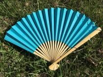 "wedding photo - SALE!! Turquoise Paper Fan for Wedding, 9"" Hand Fan, Outdoor wedding, Beach wedding, Wedding Favor, Party Favor, Turquoise Fans"
