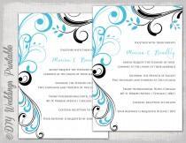 "wedding photo - Wedding invitation templates Turquoise and black ""Scroll"" printable invitation template Malibu blue and black YOU EDIT digital download"