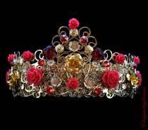 wedding photo - Baroque Crown Hearts and Roses Wedding Filigree Crown Headband Swarovski Gold Red Handmade Byzantine Tiara
