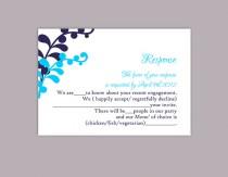 wedding photo - DIY Wedding RSVP Template Editable Text Word File Download Printable RSVP Cards Leaf Rsvp Turquoise Rsvp Card Template Navy Blue Rsvp Card