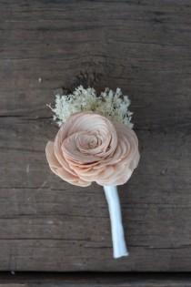 wedding photo - Peach Boutonniere, Groomsmen, Groom Boutonniere, Buttonhole