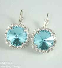 wedding photo - Turquoise crystal earrings,Swarovski rivoli leverback earring,blue crystal earrings,blue wedding jewelry,Turquoise weddingbridesmaid earring