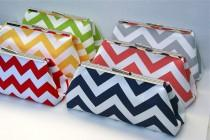 wedding photo - Custom Bridesmaid Gift Clutch Handbag in Chevron Stripes Design your own for bridesmaids gifts in various colors